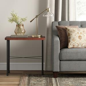 Goshen Wood Iron End Table Brown Threshold Brown Black Tnt Merchandising